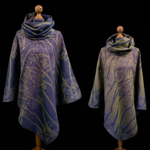 blue and green 100% organic cotton poncho